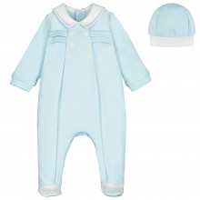 Seb - Blue Babygrow with Pleated Front