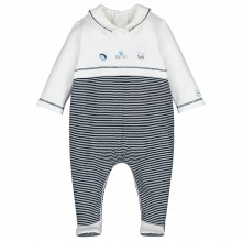 Stan - Striped babygrow with Applique Detail - Navy