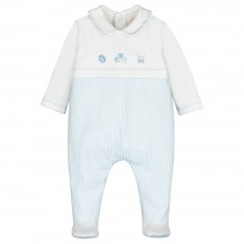 Stan - Striped babygrow with Applique Detail - Pale Blue