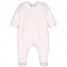 Sybil - Babygrow with Bib and Lace Trim