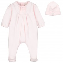 Shantel - Pink Babygrow with Bow Detail and Hat