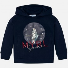 Boys Space Print Hooded Sweater - Navy (820)