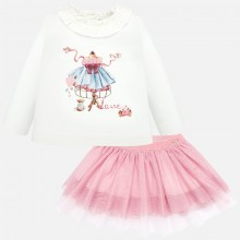Infant Girl Tulle Skirt Set - Pink (2936)