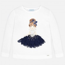Girl Applique Doll Top - Ivory (4008)