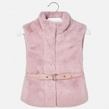 Girls Faux Fur Belted Gilet - Dusty Pink(4307)