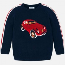 Boys Car Print Knitted Sweater - Navy (4312)