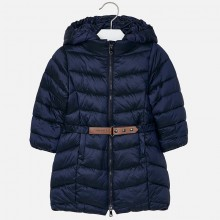 Girls Belted Long Coat - Navy (4420)