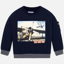 Boys Plane Print Sweater - Navy (4426)