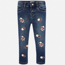 Girls Applique Flower Jeans (4505)