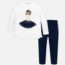 Girl Applique Two Piece Set - Navy/Ivory (4709)