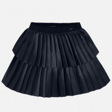 Girls Faux Leather Pleated Skirt - Navy (4909)