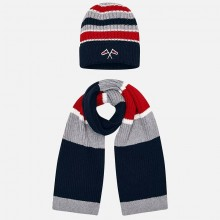 Boys Hat and Scarf  Set - Striped (10695)