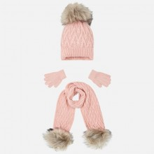 Girls Hat Scarf and Gloves Set - Pink (10701)