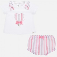 Baby Girl Heart T-Shirt and Shorts Set (Pink) 1138