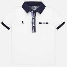 Infant Boys Polo Short Sleeve Top (White) 1145