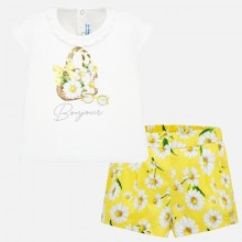 Infant Girl Daisy T-Shirt and Shorts Set  (Yellow) 1212