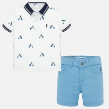 Infant Boys Polo Top and Shorts Set (Lavender) 1295