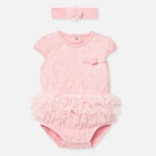 Baby Girl Tutu Romper and Headband Set (Peach) 1781