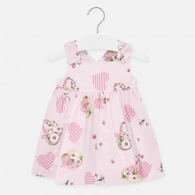 Infant Girl Heart and Flowers Poplin Dress (Pink) 1931