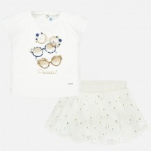 Infant Girls T-Shirt and Tulle Skirt Set (White) 1951