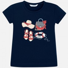 Girls Short Sleeve Printed T-Shirt (Navy) 3017
