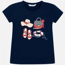 Girls Short Sleeve Printed T-Shirt (Navy) 3017