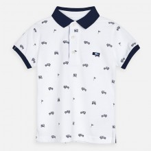 Boys Short Sleeve Polo Top (White) 3147