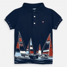 Boys Sail Boat Printed Polo Top (Navy) 3149