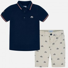 Boys Printed Polo Top and Shorts Set  (Navy) 3270
