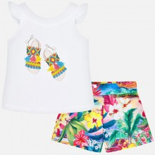Girls Tropical Sandals T-Shirt and Shorts Set 3290