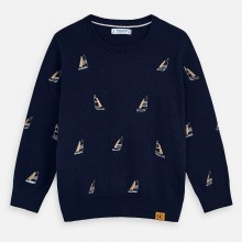 Boys Sail Boat Sweater (Navy) 3315