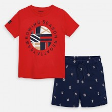 Boys Rowing T-Shirt and Shorts Set (Red/Navy) 3618