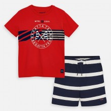 Boys Regatta T-Shirt and Shorts Set (Red/Navy) 3620