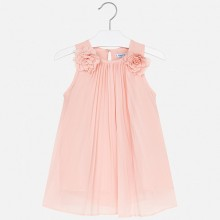 Girls Pleated Flower Dress (Peach) 3922