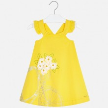 Girls Flower Dress (Yellow) 3962