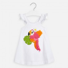 Girls Parrot Dress (White) 3962