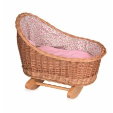 Dolls Cradle with Small Pink Flowers