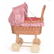 Wicker Dolls Pram - Julia (Pink)