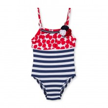 Girls Swimsuit - Red/Navy Apple print (2071)