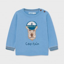 Infant Boys Knitted Jumper with Dog Design - Blue (1339)