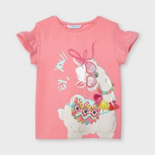 Girls T-Shirt with Llama Detail - 3019 (Coral)