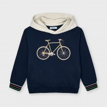 Boys Hoodie with Bicycle Detail - Navy (3403)