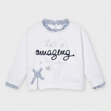 Girls Sweatshirt with Striped Bow Detail - White (3475)