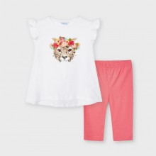 Girls T-shirt & Leggings Set with Sequin Detail - (3560) White/Coral