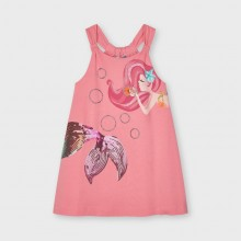 Girls Mermaid Dress with Sequin Detail - Coral (3955)