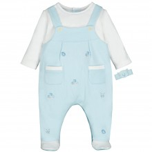 Stuart - Dungaree Babygrow with Applique Detail