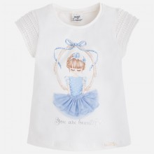 Girl Applique Dress T-Shirt - Light Blue (3055)