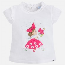 T-shirt with Girl and Flower - Fuchsia (3000)