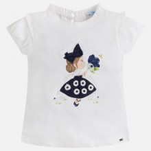 T-shirt with Girl and Flower - Navy (3000)