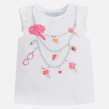Necklace T-shirt with Ruffle Sleeve - Fuschia (3044)